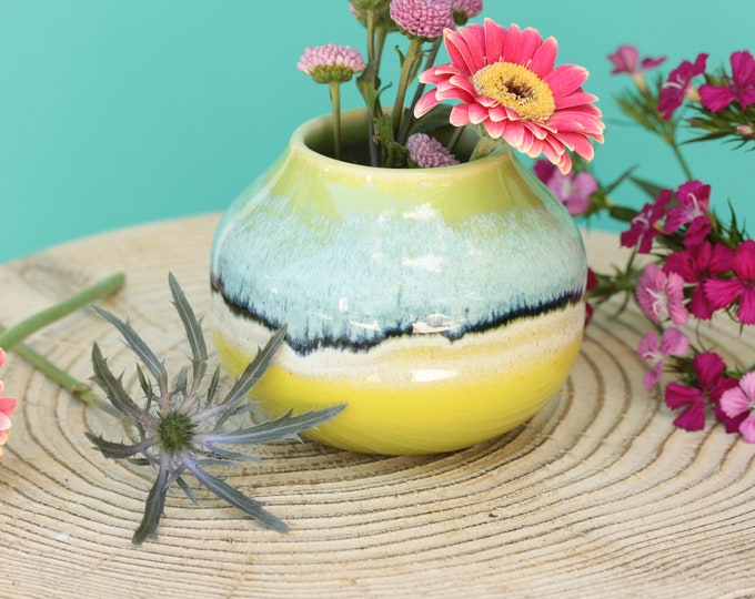 lime green bud vase // coastal decor // boho vase // small flower vase // brush organizer