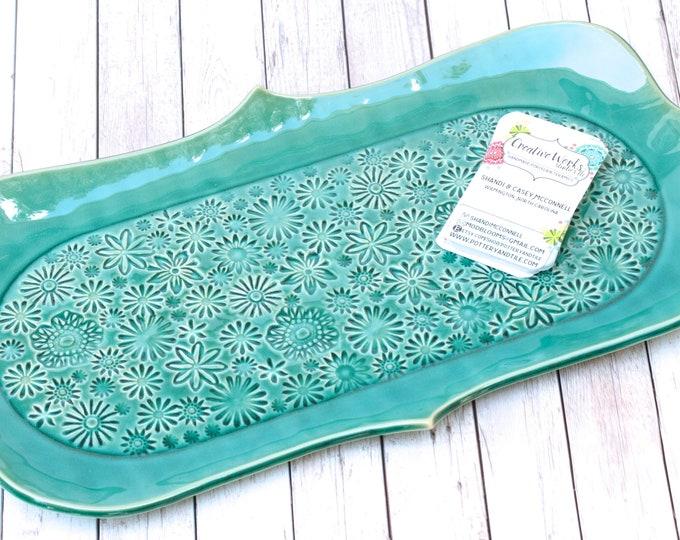 serving plate // ceramic platter // teal serving dish