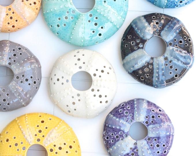 urchin wall hangings // sea life decor // ceramic sea urchin