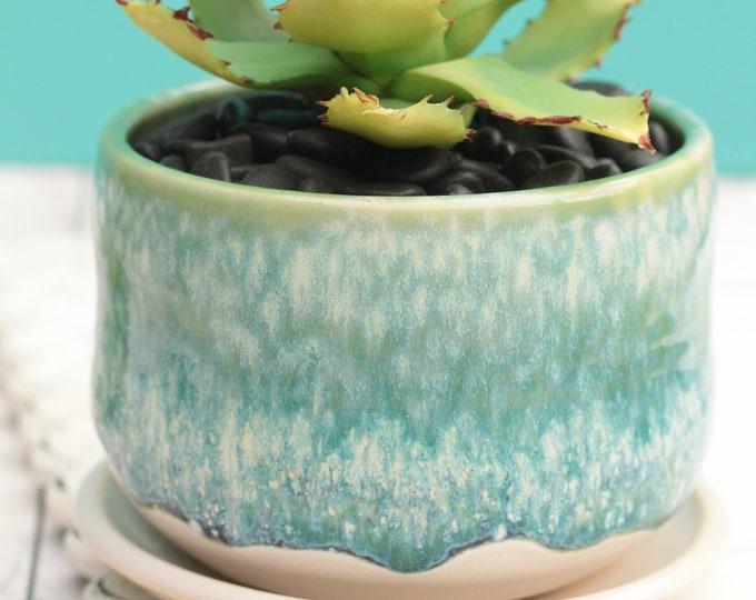 aqua succulent planter // cactus planter // succulent pot // ceramic pot // flower pot //coastal decor