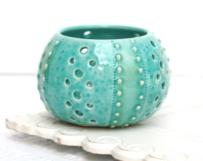 sea urchin luminary // candle holder // coastal living // sea urchin pottery