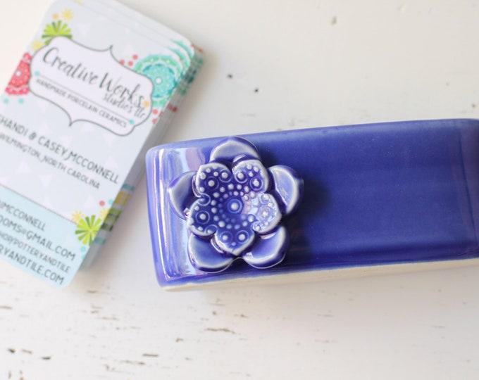 cobalt card display, porcelain