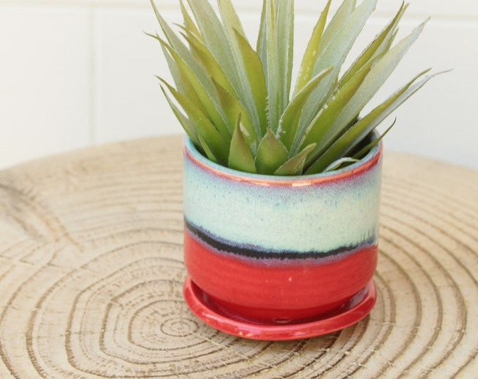 red mini planter // succulent container // boho decor // small planter