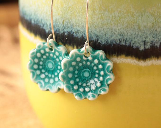 Featured listing image: teal  flower earrings // flower porcelain earrings // dangle earrings // handmade earrings