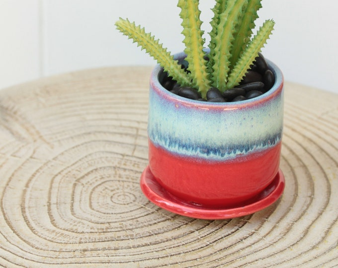 red mini planter // succulent container // boho decor // small planter