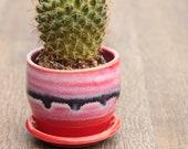 red mini planter succulent container boho decor small planter