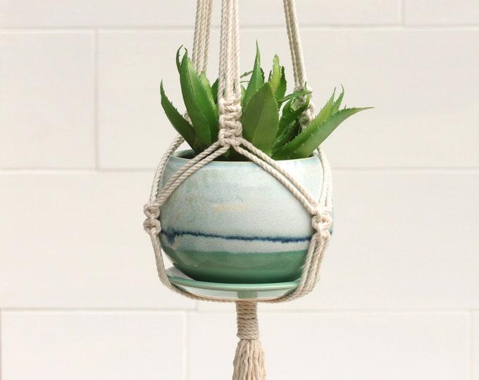 macrame planter with handmade pot // boho planter