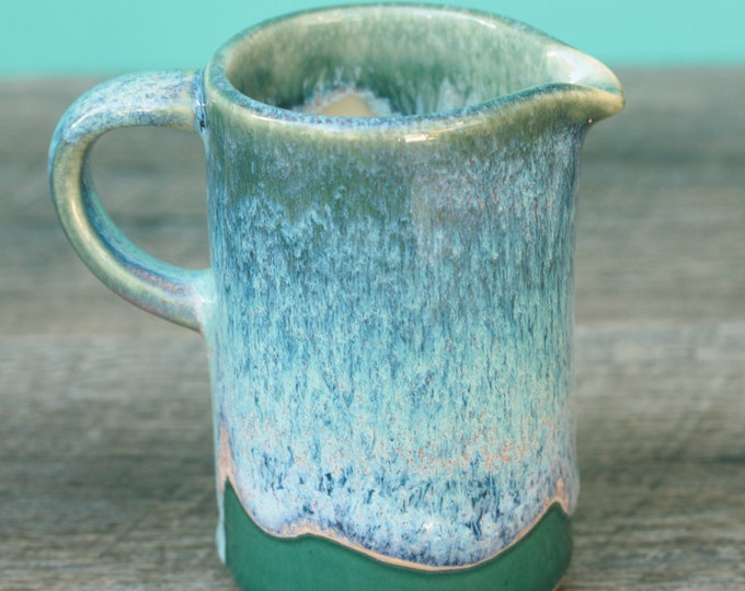 small green and blue pitcher // pourer //  syrup pitcher // creamer