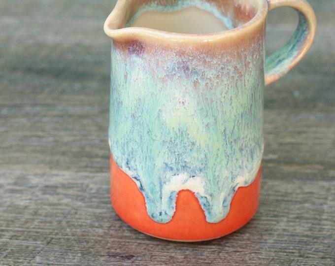 orange and aqua pitcher // pourer //  syrup pitcher // creamer