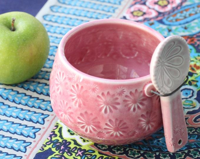 pink salt cellar with spoon