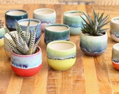 small colorful little planter succulent container boho decor small planter