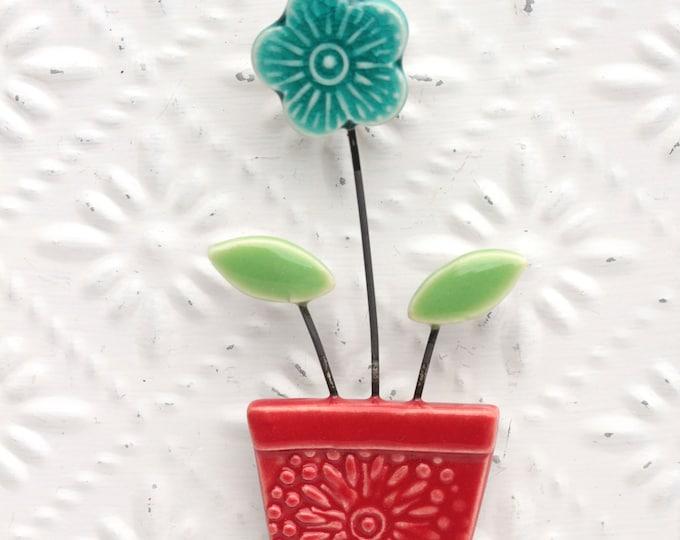 flower pot magnet teal and red // fridge magnet // flower pot