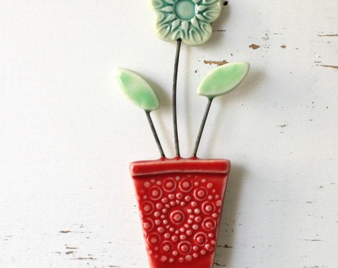 flower pot magnet red and teal // fridge magnet // flower pot
