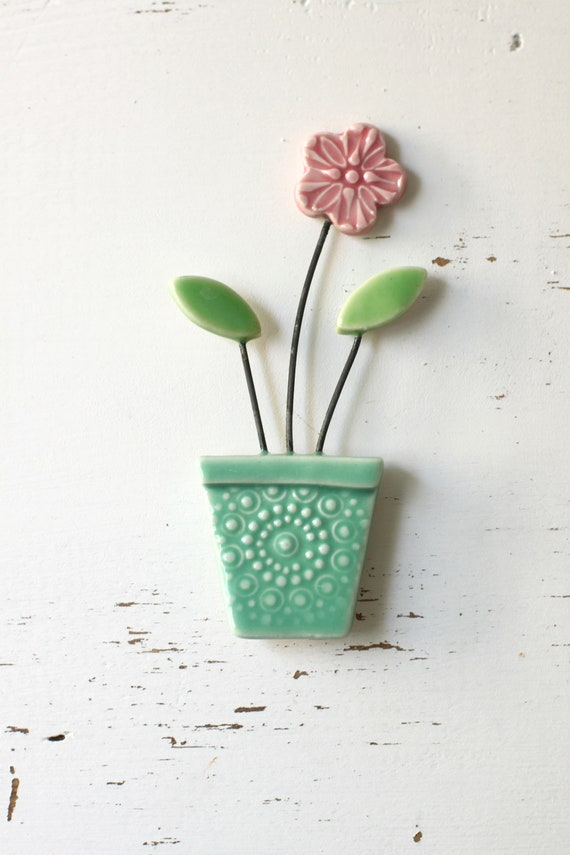 flower pot magnet aqua and pink // fridge magnet // flower pot