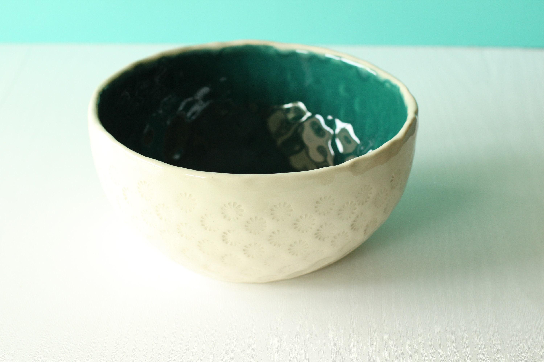 Emerald Green Bowl Large Bowl Large Ceramic Bowl Boho