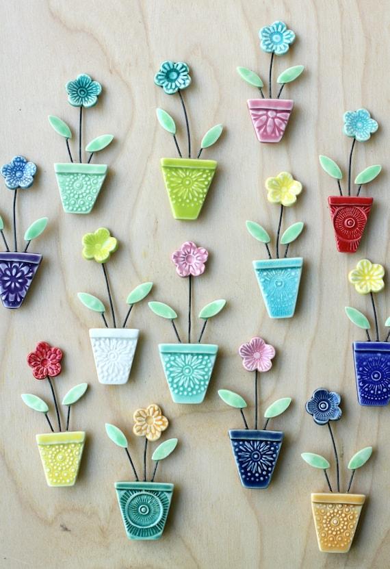 flower pot magnet chartreuse and blue // fridge magnet // flower pot