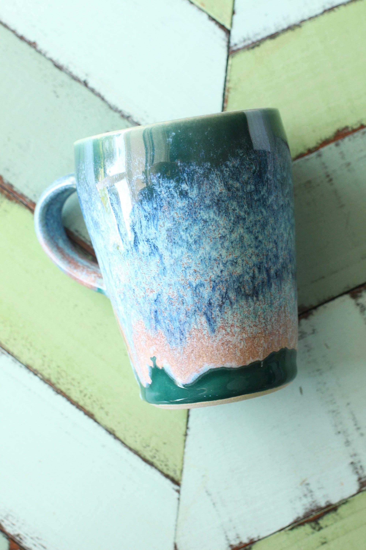 hand thrown coffee mug // tall mug // coastal coffee cup