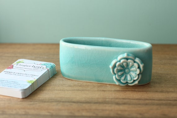 turquoise business card holder, porcelain