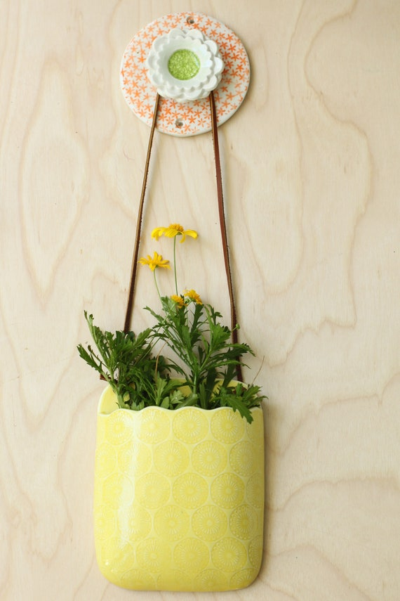 porcelain orange and green wall hook