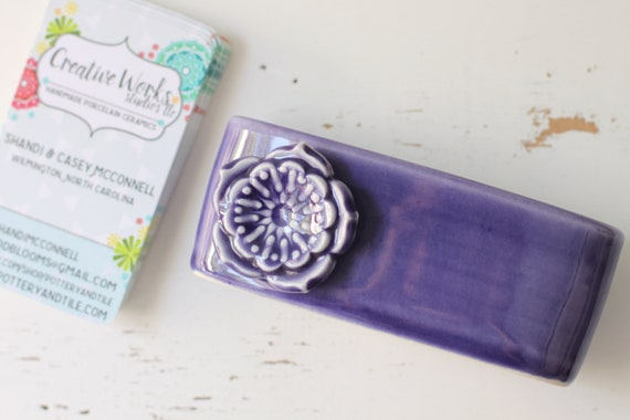 business card holder for horizontal cards, purple