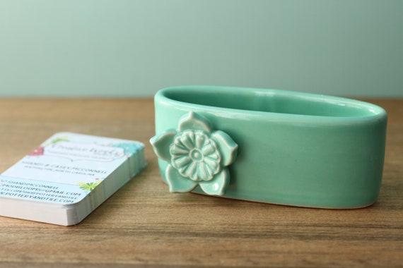aqua business card holder, porcelain