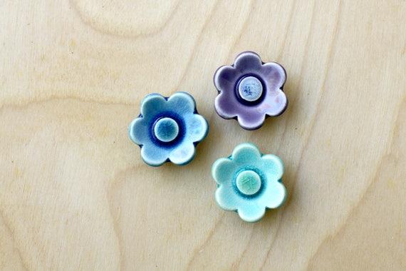 flower magnets, set of 3