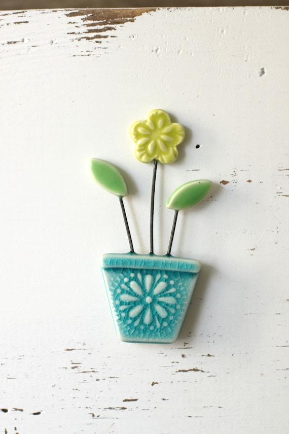 flower pot magnet aqua and chartreuse // fridge magnet // flower pot