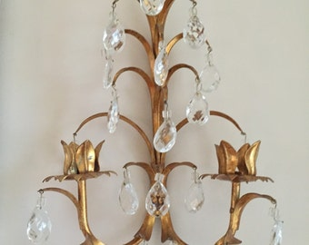 SALE****A Pair Italian Gold Tole Wall Sconces - A Pair - Cut Crystal Droplets - Paris Decor - French