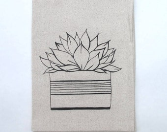 Cotton Kitchen Towel - Succulent - Choose your ink color