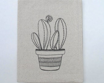 Cotton Kitchen Towel - Cactus- Choose your ink color