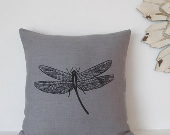 Pillow Cover - Dragonfly - 16 x 16  inches - Choose your fabric and ink color - Accent Pillow