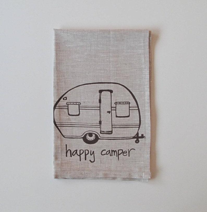 Lino, toalla de té Camper voy donde estoy remolcado diseño Vintage Trailer elija su color de tela y tinta