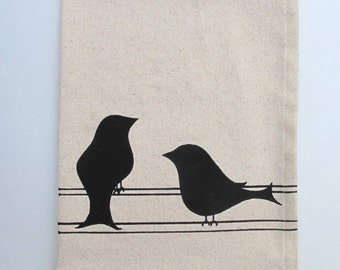Cotton Kitchen Towel - Two Birds - Choose your ink color