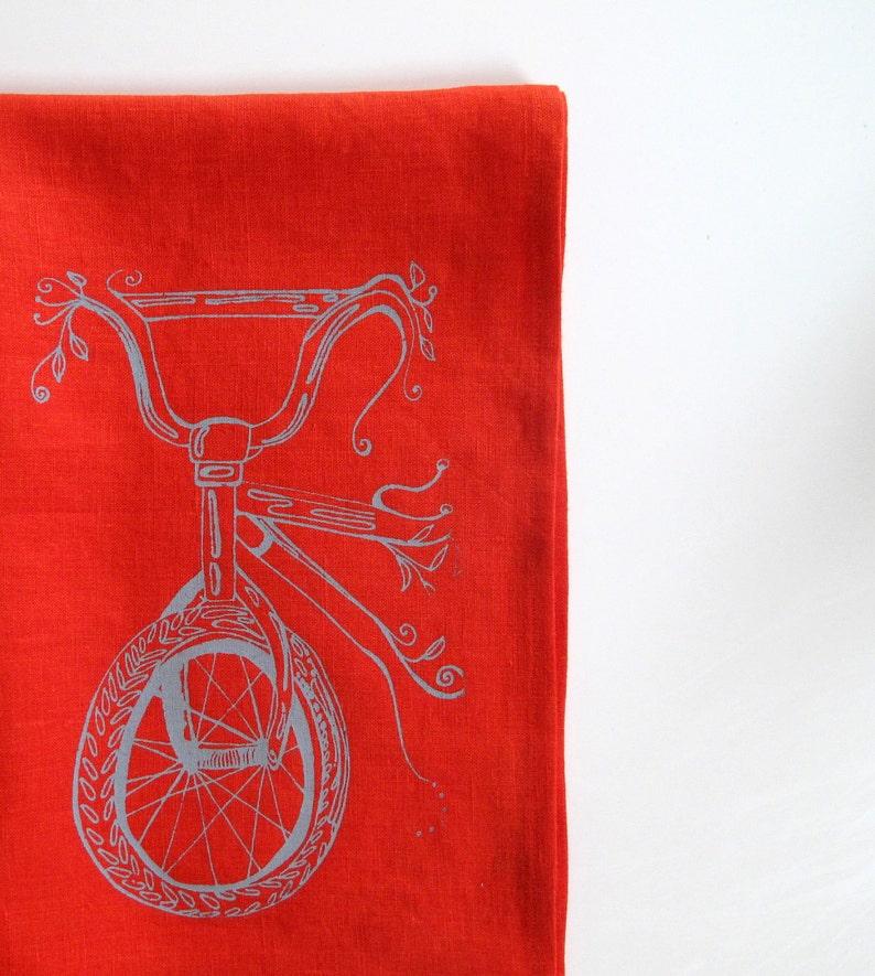Linen Tea Towel  Bicycle Kitchen Towel  Choose your fabric image 0