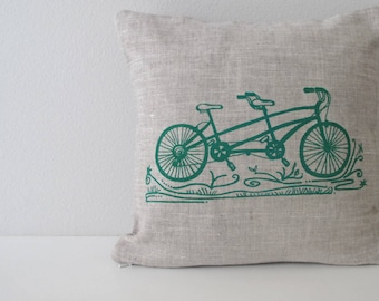 Pillow Cover - Cushion Cover - Tandem Bicycle - 12 x 12 inches - Choose your fabric and ink color - Accent Pillow