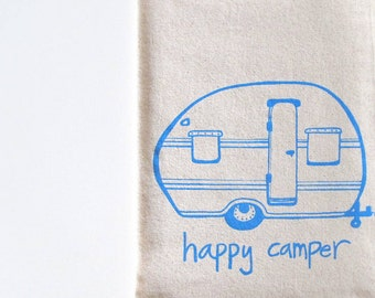 Cotton Kitchen Towel - Happy Camper Vintage Trailer - Choose your ink color