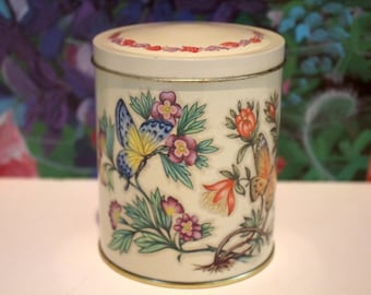 English Butterfly & Floral Vintage Tin Daher England Tin Box Co.