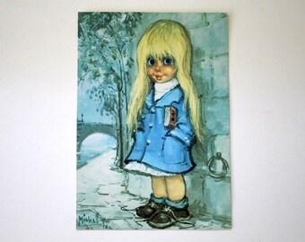 Vintage 1968 Big Eyes Michel Thomas Art French Postcard PC Little Girl Under Bridge Paris Seine River Gigi France Michel T.