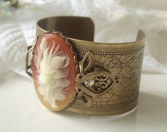 SALE Vintage flower cameo and aged brass handmade cuff bracelet 'La Belle Anne'