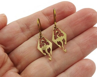 Dainty gold dragon earrings, Niobium and stainless medieval earrings, Fantasy jewelry gift