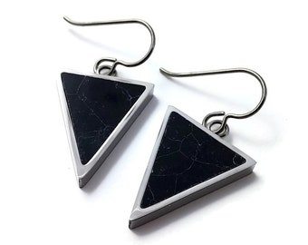 Black turquoise triangle dangle earrings - Pure titanium, stainless steel and gemstone