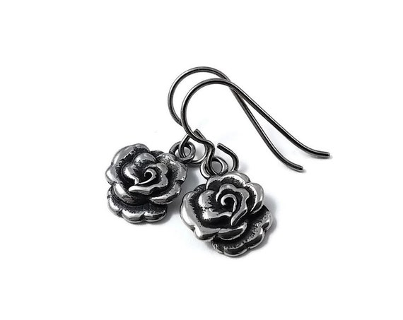 Small rose dangle earrings - Hypoallergenic pure titanium and stainless steel