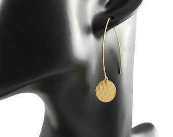 Gold circle minimalist earrings - Stainless harlequin print statement earrings
