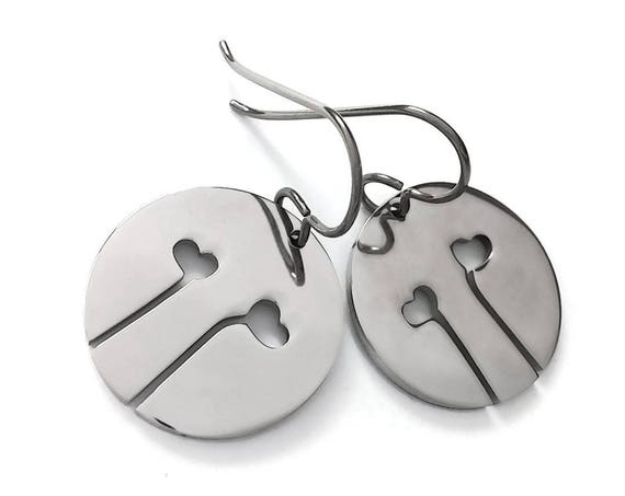 Silver heart flowers duo dangle earrings - Hypoallergenic pure titanium and stainless steel