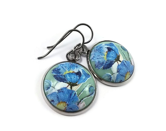 Blue poppy flowers tensha dangle earrings - Hypoallergenic pure titanium and resin