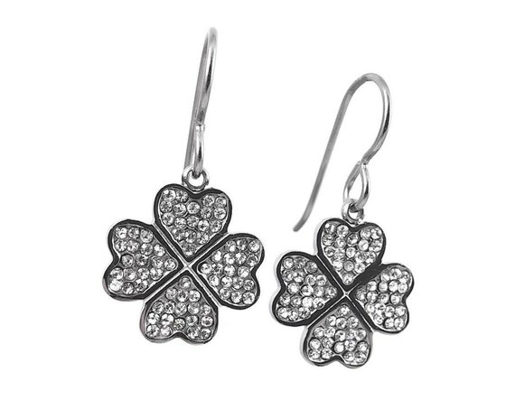 Four leaf clover rhinestone dangle earrings - Hypoallergenic pure titanium and stainless steel