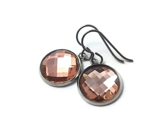 Peach rhinestone faceted dangle earrings - Pure titanium, stainless steel and glass
