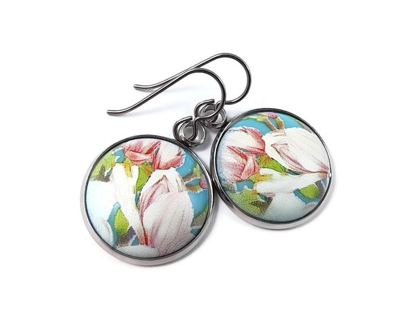 Japanese summer flowers tensha dangle earrings - Hypoallergenic pure titanium and resin