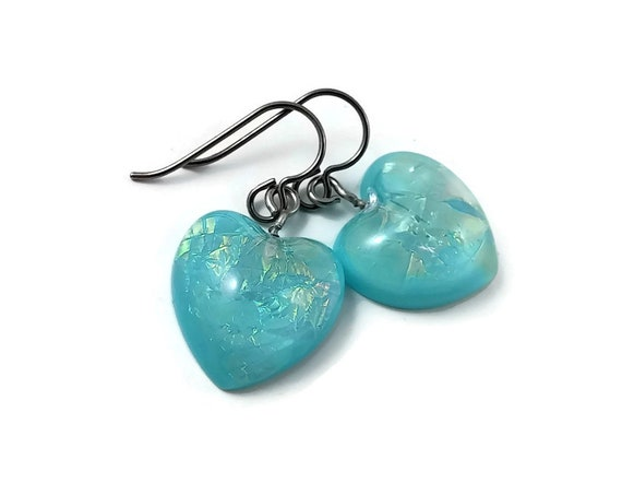 Aqua blue heart drop dangle earrings - Hypoallergenic pure titanium and resin earrings