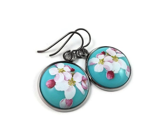Cherry blossom dangle earrings - Hypoallergenic pure titanium and resin